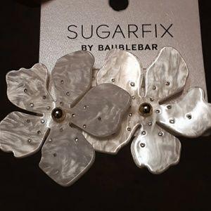 White/Silver Swirled Acrylic flower Earrings